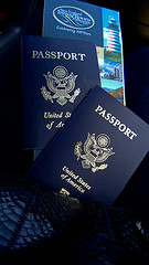 Two passports and a brochure