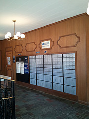 mailboxes in a post office