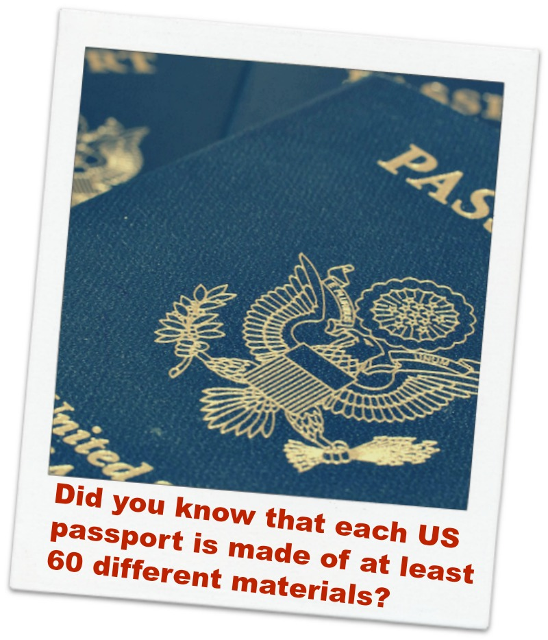 passport logo with the words Did You Know That Each US Passport is Made Of At Least 60 Different Materials?