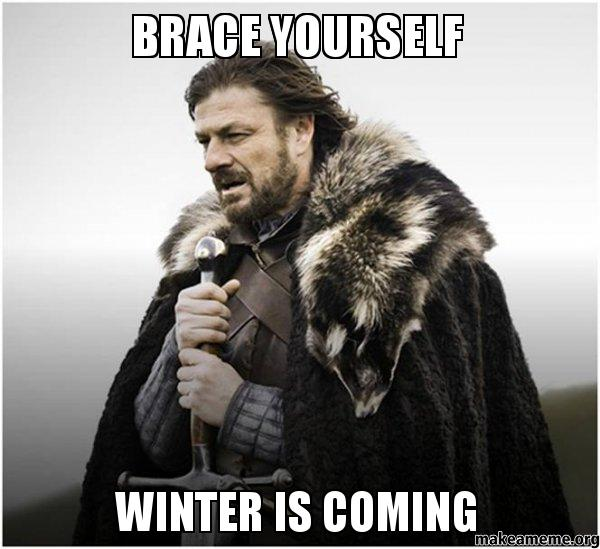 Ned Stark from Game of Thrones in a meme saying Brace Yourself Winter is Coming