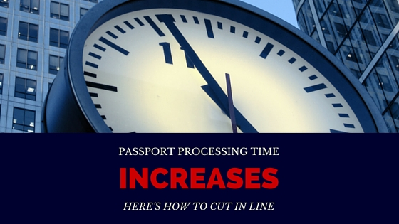 A clock with text that says passport processing time - how to cut the line