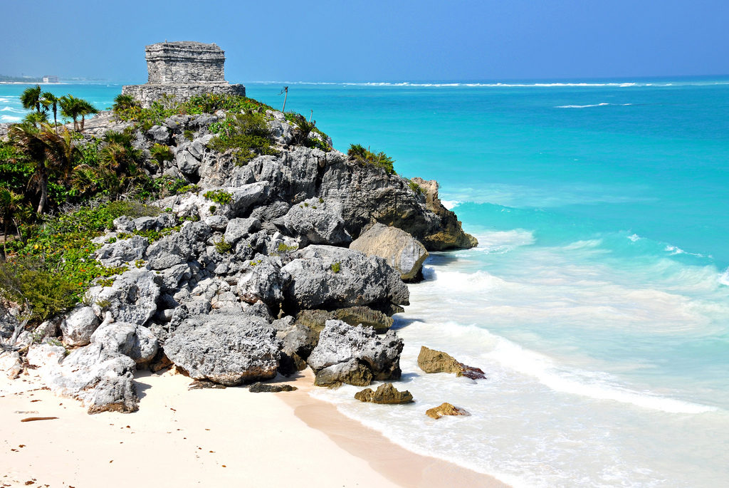 Tulum Mexico beach and ancient ruins