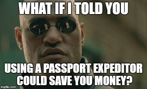 Morpheus from The Matrix saying What If I Told You Using A Passport Expedition Company Could Save You Money